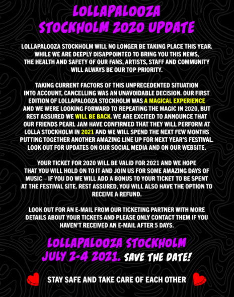 FESTIVAL: Lollapalooza Stockholm 2021