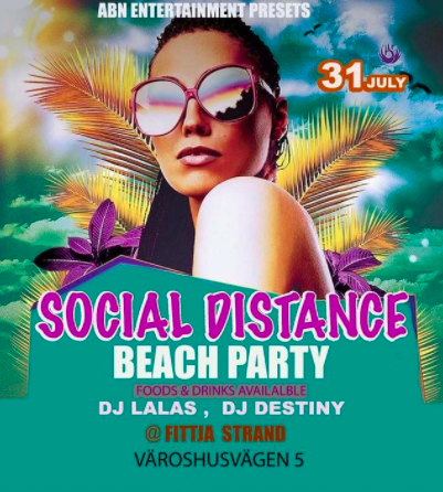 EVENEMANG! Social distance beach party @ Fittja Strand (STOCKHOLM)